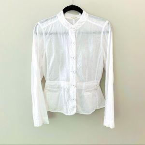 Eileen Fisher White Cinch Waist Linen Jacket Top